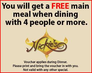 You will get a FREE main meal when dining with 4 people or more.