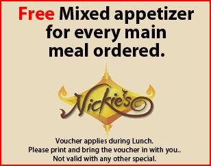 Free Mixed appetizer for every main meal ordered.